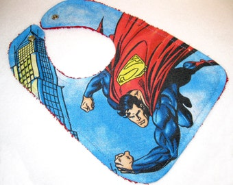 Superman baby bib themed one size fits all retro upcycled fabric shower gift inspired