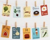 Food Alphabet Card Set, Nursery Wall Cards, Food Alphabet Flash Cards, Alphabet Fine Art Prints, ABC Cards