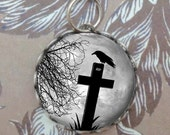 Crow on Cemetery Cross, Glass Bubble Charm, Silver, Pendant