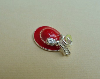 Red Hat Charm, Red Hat Lady, Red Hat Society, Sterling Silver Charm, Red Enamel Charm, Silver Hat Charm - One 1 Charm