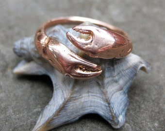 crab CLAW rose gold ADJUSTABLE bypass ring sz 6 to 9 made to order cancer zodiac