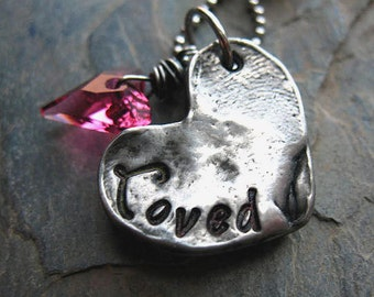 Hand Stamped Heart Necklace, Hand Cast Pewter, Valentine Wild Heart Crystal, Gift for Her, Heart Jewelry, Pink Crystal Heart
