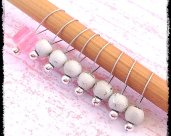 Snag Free Stitch Markers Medium Set of 8 -- Pink Acrylic and White Glass -- M1 -- For up to size US 11 (8mm) Knitting Needles