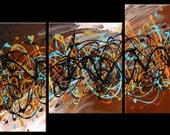 5 piece multi panel canvas art liquid painting abstract splashy line brown gold aqua sun moon space