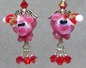 Glitterbug Originals When Santa PIGS FLY Handmade Lampwork Art Glass Earrings SRAJD