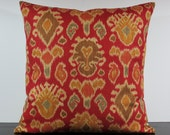 Deep Red, Olive Green n Gold Ikat decorative throw pillow cover 18 x18 inches Accent cushion sham slipcover.