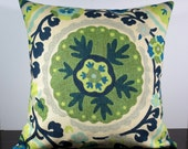 Green and Blue Suzani Medallion decorative throw pillow cover 18 x18 inches Accent cushion sham.