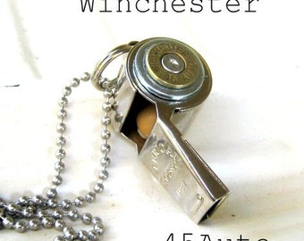 Winchester Bullet Necklace 45 Auto  mixed metals Whistle