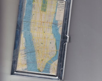 Retro New York City Map Business Card Holder Credit Card Case