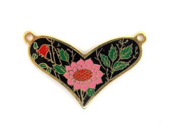 Vintage Pink and Red Flowers on Black Cloisonne Enamel Heart Pendants (2X) (E573)