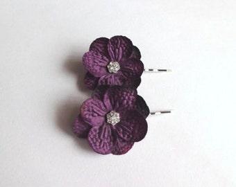 Small Dark Purple  Hydrangea Flowers Hair Pins, Shoe clips, Baby Snap Clips