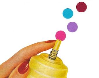 Pop Art, Colorful Art, Original Collage on Paper, Colorful Wall Decor, Minimal Polka Dot Art, Minimalist Art, Unique Artwork, Fun Wall Art