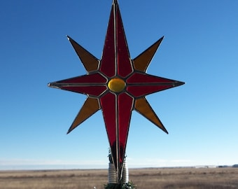 Star of Bethlehem, North Star Christmas Tree Topper, Stained Glass Stars