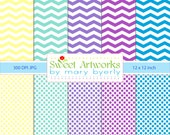 "INSTANT DOWNLOAD - Chevron and Polka Dot Digital Printable 12"" x 12"" High Resolution JPG Papers Scrapbooking purple aqua teal green yellow"