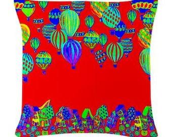 Hot Air Balloons Red Folk Art Pillow - Woven Throw Pillow Whimsical Art by Renie Britenbucher