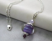 Purple Lilac Lampwork Boro Pendant, Swarovski Crystals, Sterling Silver Wire Wrapped... With/Without Necklace... Frosted Lilac