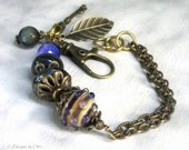 Boho Lampwork Bracelet, Bronze Chains and Charms, Large Swivel Lobster Clasp, Artisan Glass & Gemstone Bracelet