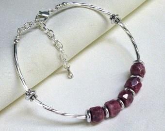 Purple Rhodonite Bangle Bracelet, Silver Spiral Noodles, Adjustable Flex Bangle, Gemstone Bracelet... See Matching Hoops