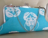Adorable Teal and White Lobster Print Metal Frame Clutch