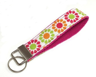 FREE SHIPPING UPGRADE with minimum -  Key Lanyard - Key Fob - Fabric Key Ring -- Symmetrical Blooms
