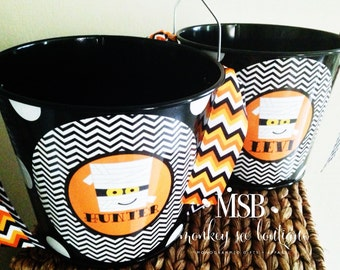 Personalized 5 Quart Halloween Bucket with Mummy Design