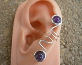 Hand Wrapped Silver Ear Cuff with Amethyst