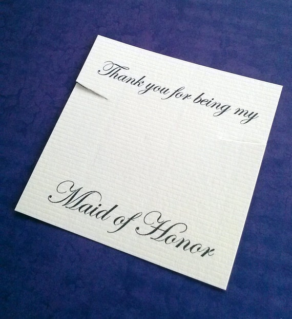 Maid Of Honor Necklace Card, Bridal Favor, Set of 30 Jewelry Cards