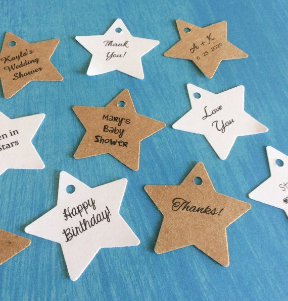personalized Star tags, birthday tags, favor tags, wedding favors, product labels - 1 1/2 inch set of 100
