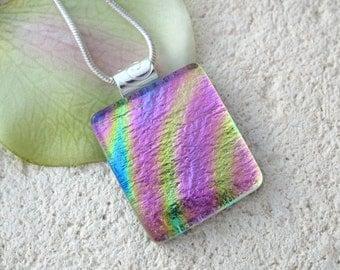 Petite Rainbow Golden Pink  Dichroic Glass Jewelry - Fused Glass Jewelry  -  Fused Dichroic Glass Jewelry Dichroic Jewelry - 111713p100
