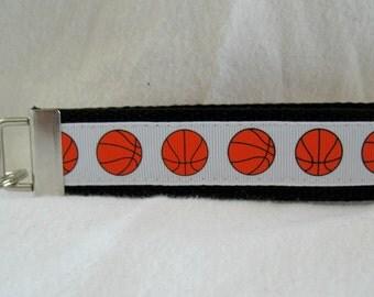 Basketball Key Fob BLACK Sports Key Chain Wristlet