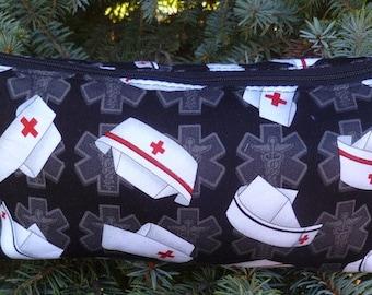 Nurses flat bottom bag, flat bottom pouch, knitting notions pouch, Nurses Caps on Black,  The Zini