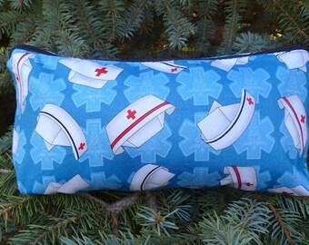 Nurses flat bottom bag, flat bottom pouch, knitting notions pouch, Nurses Caps on Blue,  The Zini