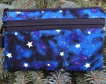Stars mini wallet, purse organizer, wristlet, Glow in the Dark Stars, Sweet Pea