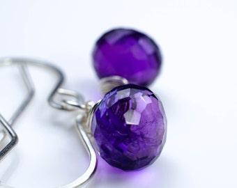 Amethyst Silver Earrings February Birthstone