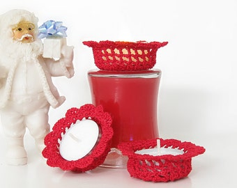 Red Lace Tealight Candle Holders, Holiday Home Decor, Set of 3 Tealight Candle Holders