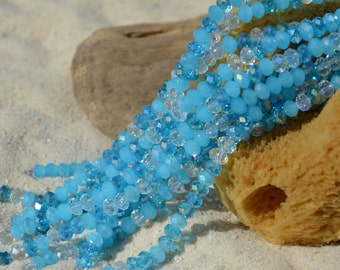 36 pcs 8x5mm,faceted blue mix Tiaria Crystal Beads, AB Rondelle-glass beads-Chinese crystals-blue Crystal bead-mixed color -designer crystal