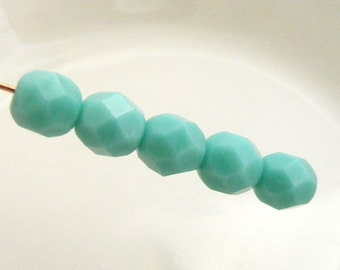 Fire Polish Czech Glass Beads 6mm Faceted Round Opaque Turquoise (Qty 25) SI-6FP-OTQ