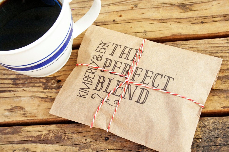 Wedding Favor Coffee Bag The Perfect Blend Wedding by mavora