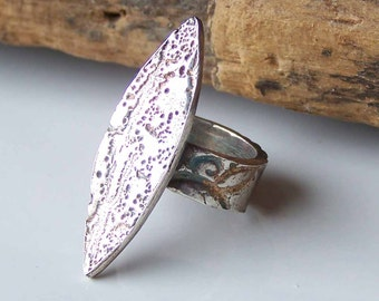 PMC, Reduced PMC Ring, Precious Metal Clay, Size 2, Fine Silver Ring, Stamped Ring, .999 Fine Silver, Unique, Spear, Etsy, Etsy Jewelry