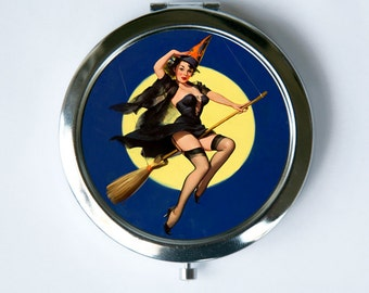 Pinup Witch Compact Mirror Pocket Mirror moon retro rockabilly halloween