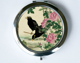 Japanese Crows Flowers Compact Mirror Pocket Mirror tattoo woodblock