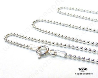 22 inch Italy 925 Sterling Silver ball Chain 1.5mm Necklace FC10