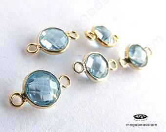 5 pcs 7mm Lite Blue Topaz (Natural Gemstone) Gold Bezel Connector Pendants F391