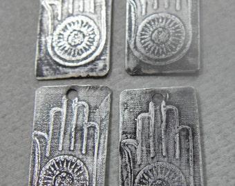 New - Handmade etched Greman Silver Charms,HAMSA Ahimsa, PurpleLily Designs