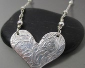 RESERVED for Corinne Fine Silver .999 Floral Heart Necklace