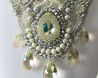 Beadwork Beaded Necklace, Luminous Green Swarovski Crystals, Silver, Pearls, Glass Beads, Bead Embroidery, Beaded Jewelry, Wedding, Bridal