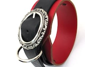 Unique Leather Dog Collar Heavy Duty Wide Red and Black with Fancy SIlver Buckle Size M to fit a 13-16 inch Neck - OOAK