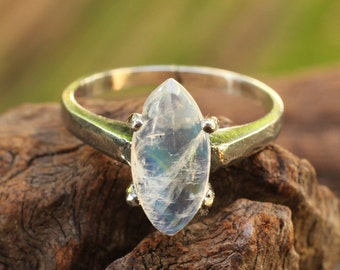 Sterling silver ring with marquis cut moonstone