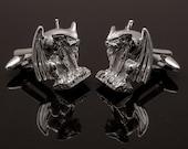 Gothic Gargoyle Cufflinks, Sterling Silver, handcrafted