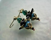 Iridescent Flower Drop Earrings, Black & Teal, Dainty Flowers, Brass Details, Boho Chic, Faery Couture, Elksong Jewelry